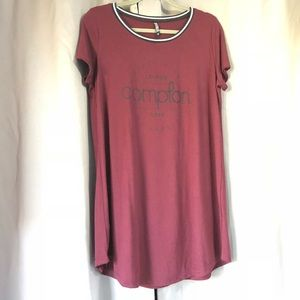Burgundy dress with Compton text